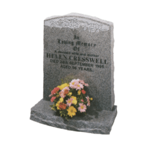 Light Grey Granite Headstone and Base Memorial with White Flowers Design and Rustic Edges