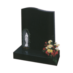 Black Granite Headstone and Base Memorial with Our Lady Marble Staue in a Carved Niche