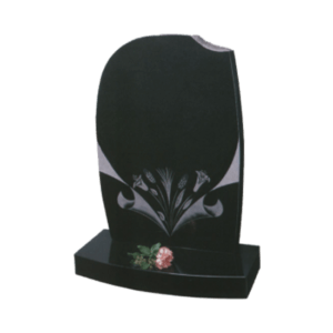 Black Granite Headstone and Base Memorial with Light Blasted Lilies and Wheat Design