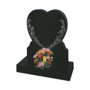 Black Granite Heart Shaped Headstone and Base Memorial with Large Flower Design
