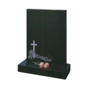 Black Granite Headstone and Base Memorial with Cross and Flowers Design