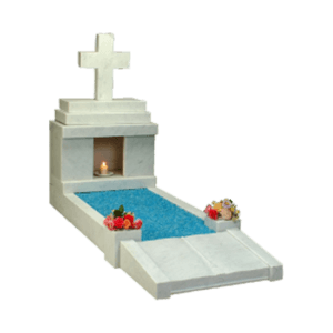 White Marble Candle Box Headstone Memorial with Kerbs - Footplate and Cross