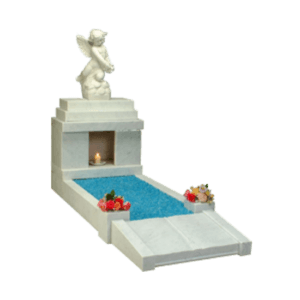White Marble Candle Box Headstone Memorial with Kerbs and Statue