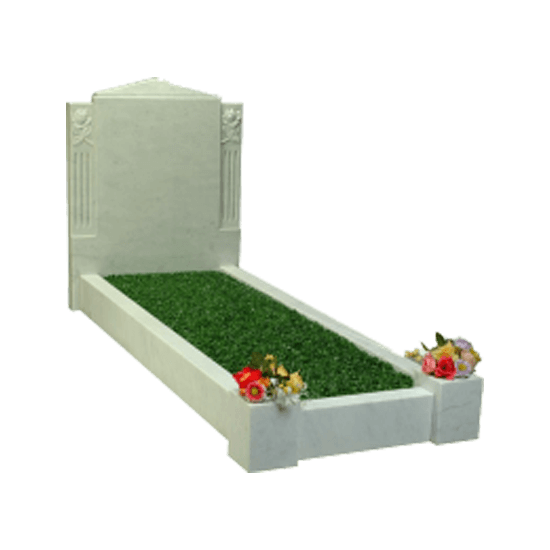 White Marble Headstone Memorial with Kerbs and Carving