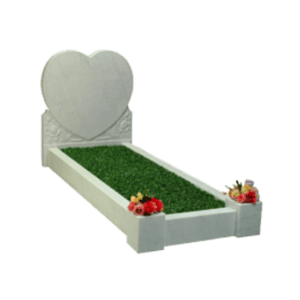 White Marble Heart Shape Headstone Memorial with Kerbs and Carving