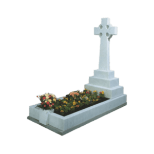 White Marble Celtic Cross Headstone Memorial with Kerbs and Carving