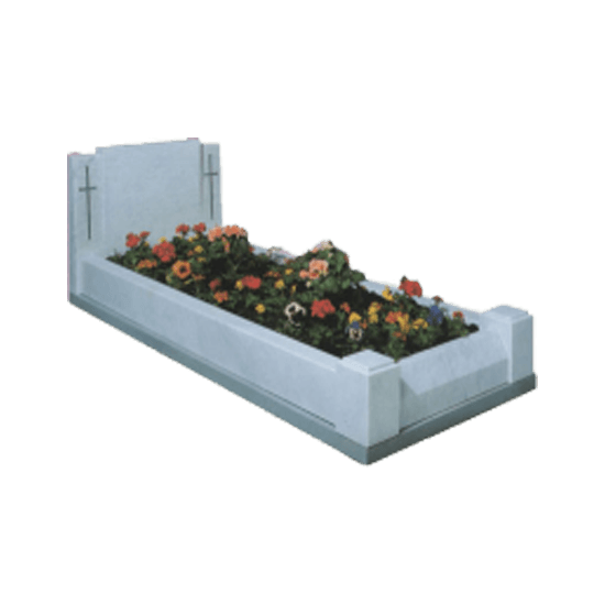 White Marble Headstone Memorial with Kerbs and Cross Design