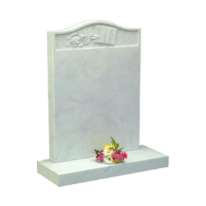 White Marble Headstone and Base Memorial with Carved Rose and Bible