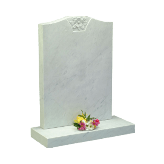 White Marble Headstone and Base Memorial with Carved Flower