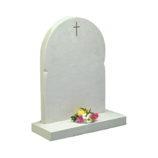 White Marble Headstone and Base Memorial with Round Top and Cross