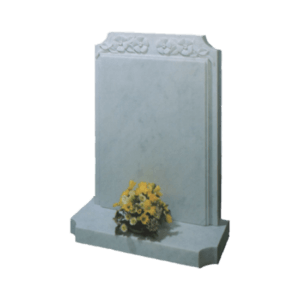 White Marble Headstone and Base Memorial with Carved Flowers and Raised Panel