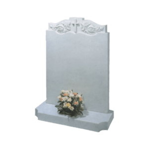 White Marble Headstone and Base Memorial with Carved Roses and Raised Cross