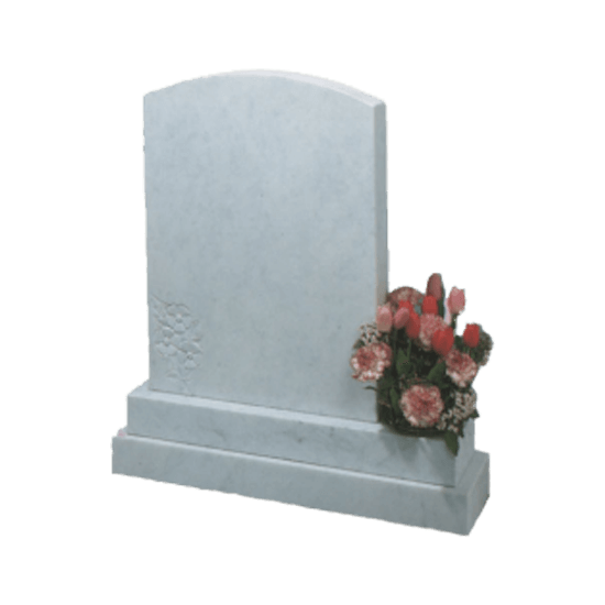 White Marble Headstone and Base Memorial with Round Top and Carved Flower