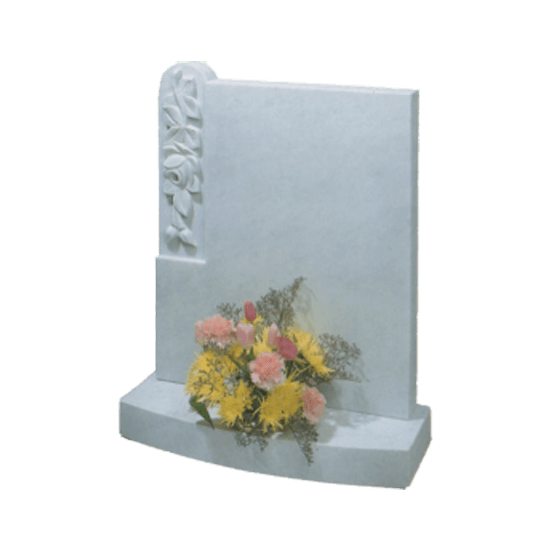 White Marble Headstone and Base Memorial with Square Top and Carved Roses