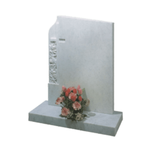 White Marble Headstone and Base Memorial with Square Top and Carved Roses and Cross
