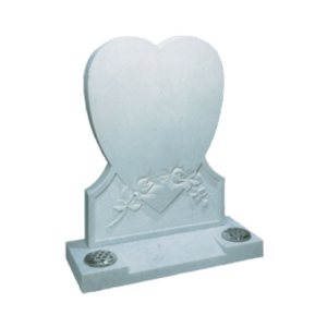 White Marble Headstone and Base Memorial with Heart Shaped Headstone and Carved Roses