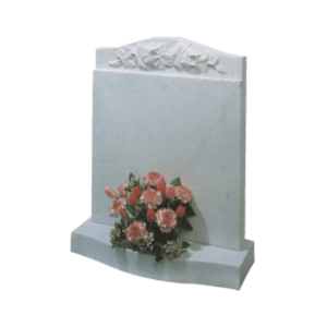 White Marble Headstone and Base Memorial with Carved Roses