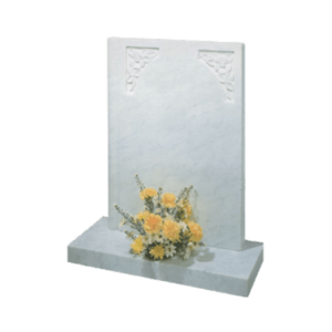 White Marble Headstone and Base Memorial with Square Top and Carved Flowers
