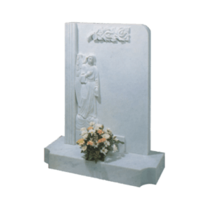 White Marble Headstone and Base Memorial with Carved Angel - Roses and Column
