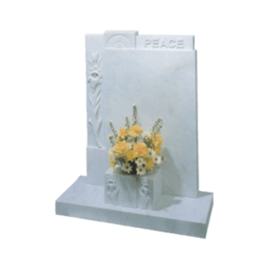 White Marble Headstone and Base Memorial with Carved Flowers and PEACE