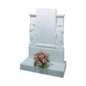 White Marble Headstone and Base Memorial with Carved Angels and Scroll