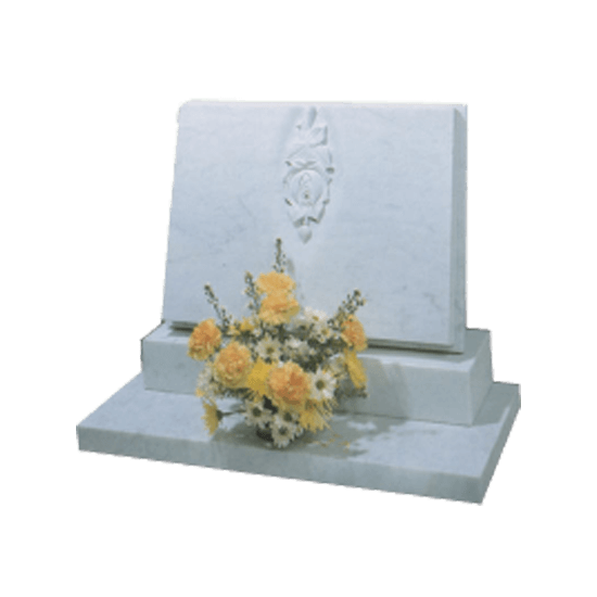 White Marble Headstone and Base Memorial with Carved Book and Roses