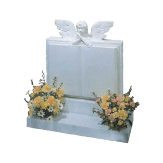 White Marble Headstone and Base Memorial with Carved Book Headstone and Angel Over