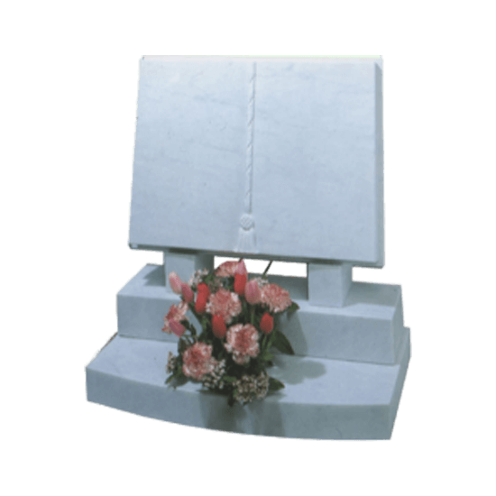 White Marble Headstone and Base Memorial with Carved Book Headstone