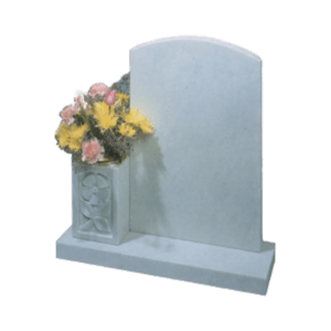 White Marble Headstone and Base Memorial with Carved Roses on Tall Vase