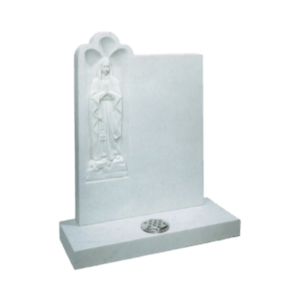 White Marble Headstone and Base Memorial with Niche and Carved Our Lady