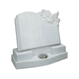 White Marble Headstone and Base Memorial with Carved Book and Winged Horse