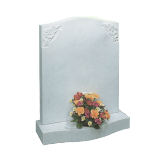 White Marble Headstone and Base Memorial with Carved Flowers