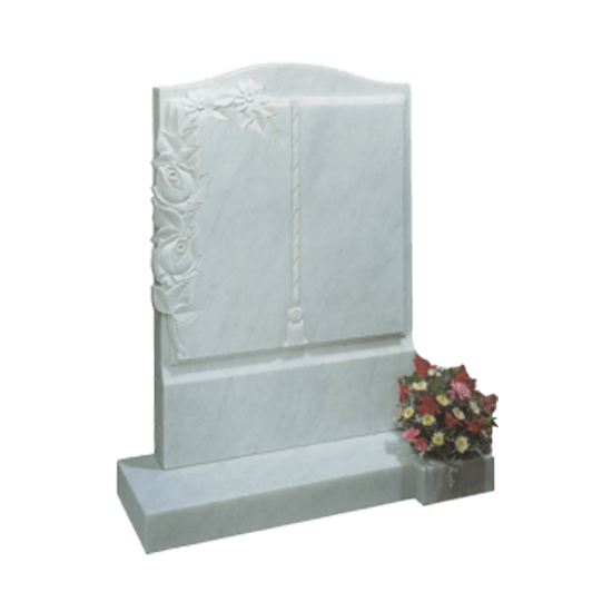 White Marble Headstone and Base Memorial with Carved Book Headstone and Roses