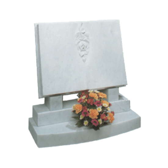 White Marble Headstone and Base Memorial with Carved Book Headstone and Flower