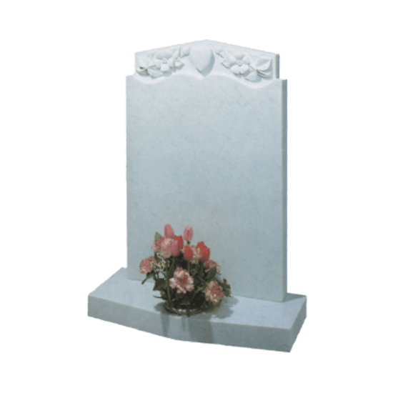 White Marble Headstone and Base Memorial with Carved Heart and Flowers