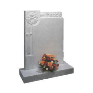 White Marble Headstone and Base Memorial with Carved Cross - Roses and PEACE