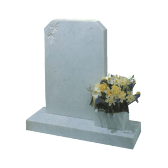 White Marble Headstone and Base Memorial with Carved Flowers and Vase