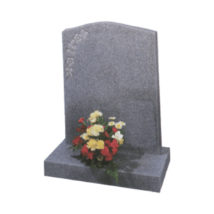 Honed Dark Grey Granite Headstone and Base Memorial