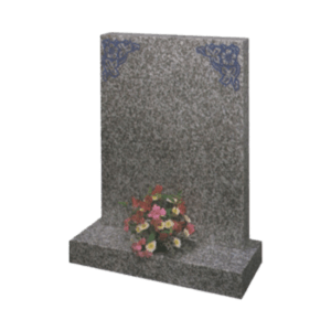 Honed Light Grey Granite Headstone and Base Memorial