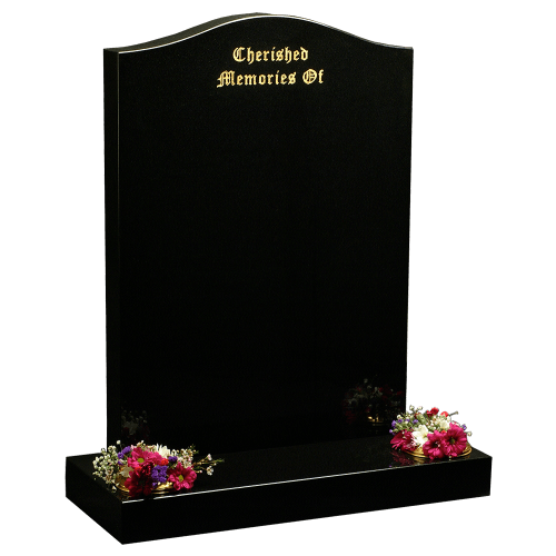 All Polished Black Granite Headstone and Base Memorial