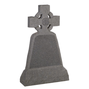 Light Grey Granite Polished and Rustic Cross Headstone