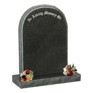 Dark Grey Granite Round Top Headstone and Base Memorial
