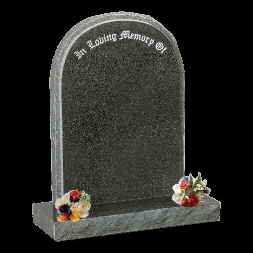 Dark Grey Granite Round Top Headstone and Base Memorial