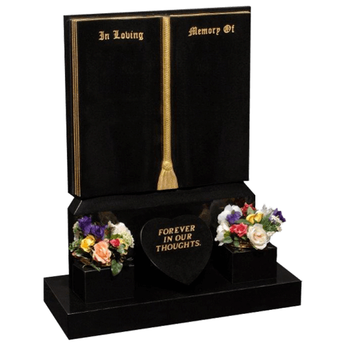 All Polished Black Granite Book Headstone and Base Memorial with Two Vases & Carved Tassle