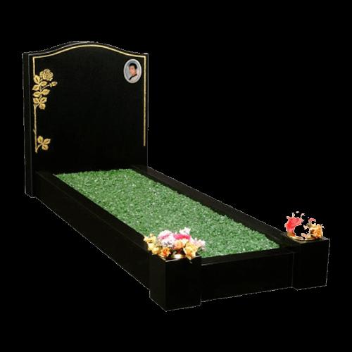 All Polished Black Granite Memorial with Full Kerb Set and Flower & Keyline Design