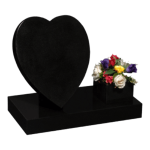 All Polished Black Granite Heart Cremation Memorial