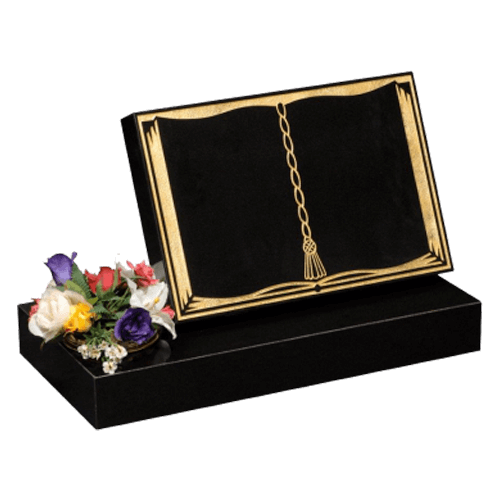 All Polished Black Granite Book Cremation Memorial